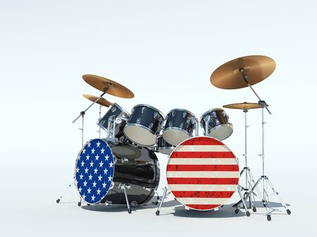 Drum set painted in an American flag. On a white background. 3D Render