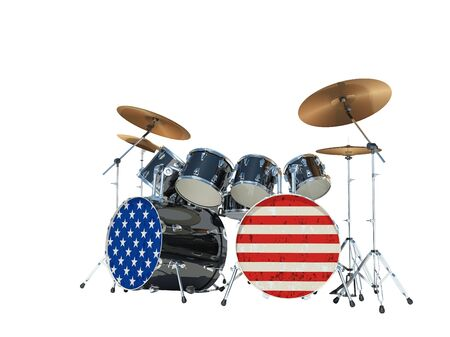 Drum set painted in an American flag. Isolated on white background. 3D Render