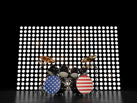 Drum set painted in colored flag at the background glowing wall. 3D render Stock Photo