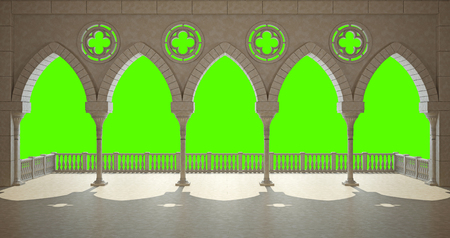 Colonnade in the Gothic style. Isolated on green