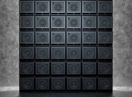 Backgrounds of guitar amps on the background of a concrete wall Archivio Fotografico - 101583568