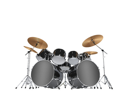 Drum kit with two bass drums. Isolated on white Stockfoto - 103511946