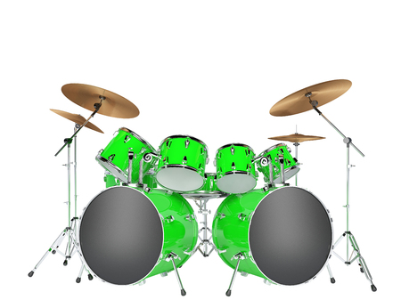 Drum set green isolated on a white background Stock Photo