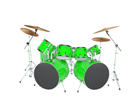 Drum set green isolated on a white background