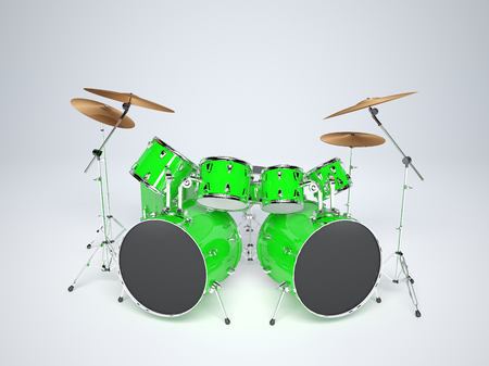 Drum set green on a white background