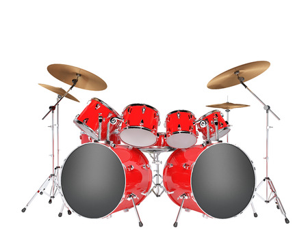 Drum set red isolated on a white background