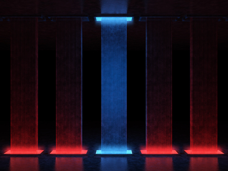 Abstract high tower illuminated with red light, one of them is highlighted in blue