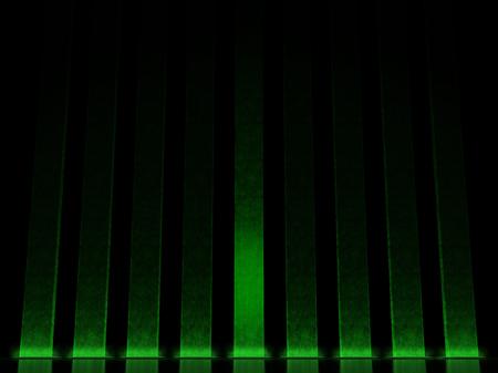 Colonnade of the vertical columns illuminated green