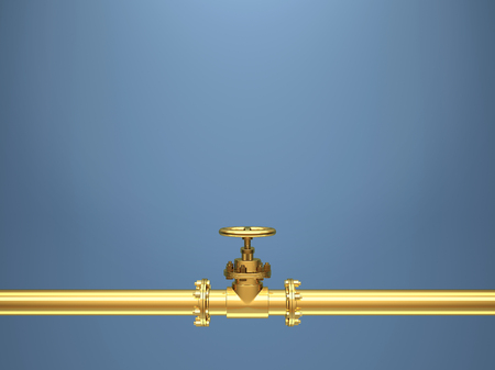 Golden industrial pipes on blue Background. 3D Render
