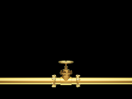 Golden industrial pipes on black Background. 3D Render