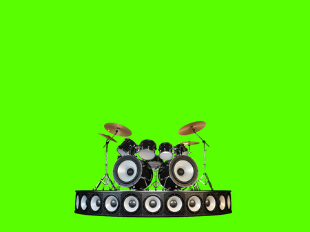 Unusual brutal drum kit stands on the podium. Isolated on green.