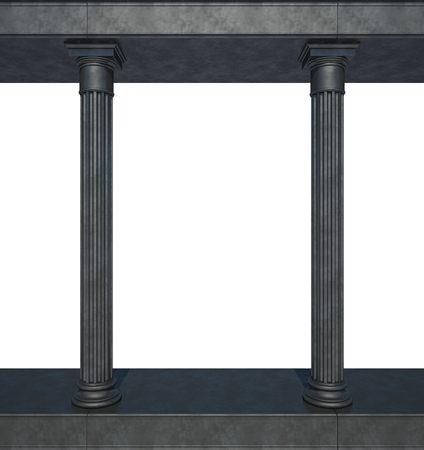 Black colonnade in the classic style. Isolated on White
