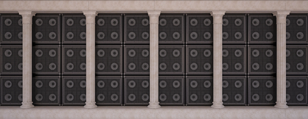 Classical colonnade, on a background of a wall of guitar amps
