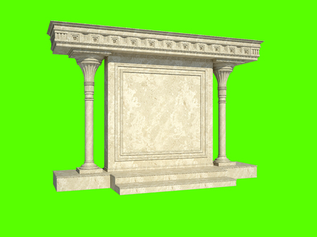 Abstract architectural structure in classical style. Isolated on green