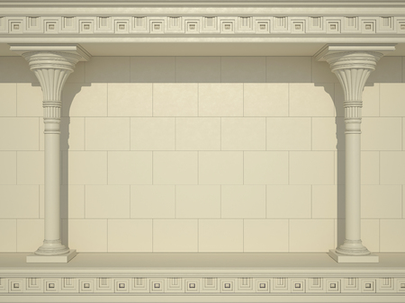 A background of a wall with beautiful columns 스톡 콘텐츠