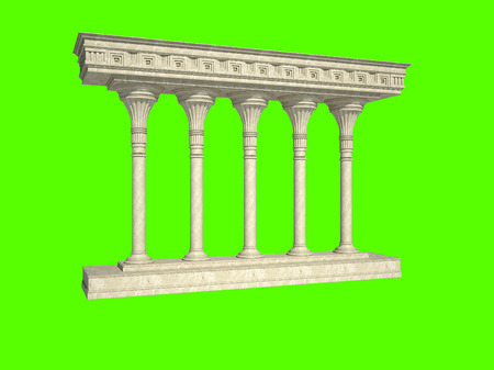 Architectural structure in classical style. Isolated on green 스톡 콘텐츠