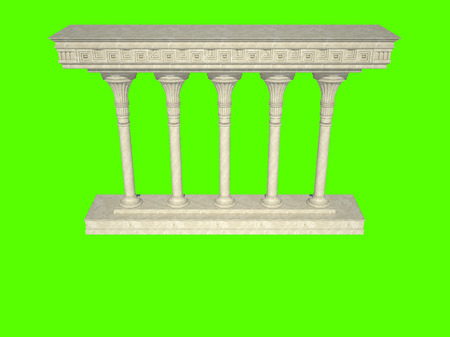 Architectural structure in classical style. Isolated on green Stock Photo