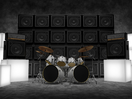 Abstract scene with drums, guitar amps and glowing cubes