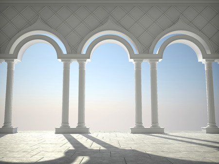 Classic white interior with arches and columns Stok Fotoğraf