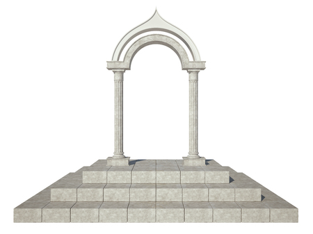 Classical arch and two columns of unusual shape