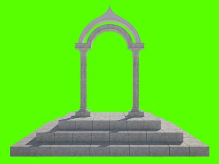 Classical arch and two columns of unusual shape. Isolated on green background Stok Fotoğraf