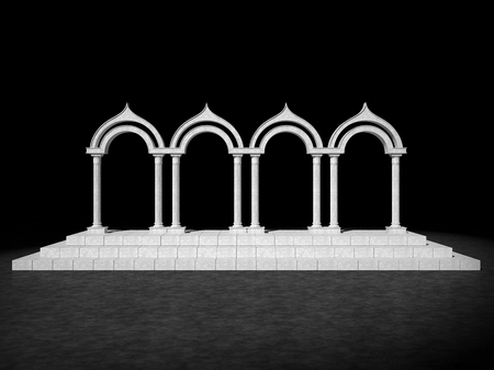 Abstract antique colonnade on a black background