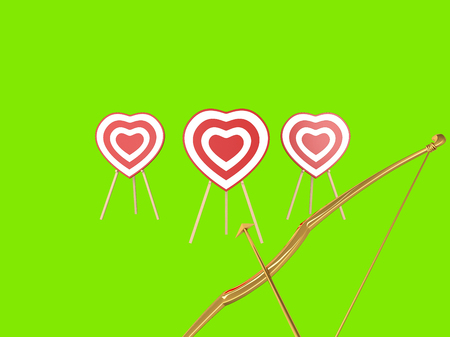 Fire hearts. isolated on a green background
