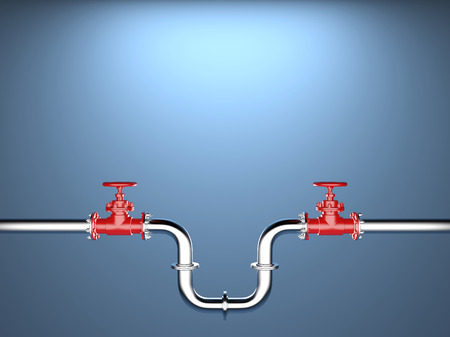 Industrial Pipe Valve on blue Background
