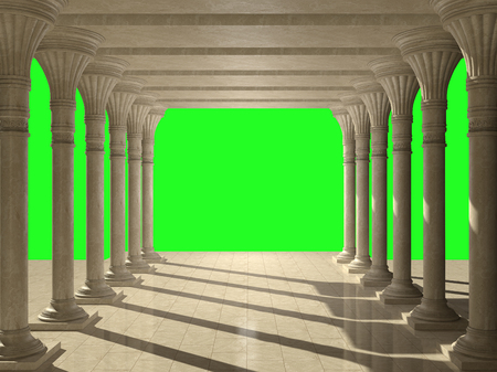 Colonnade of ancient columns. Isolated on green.