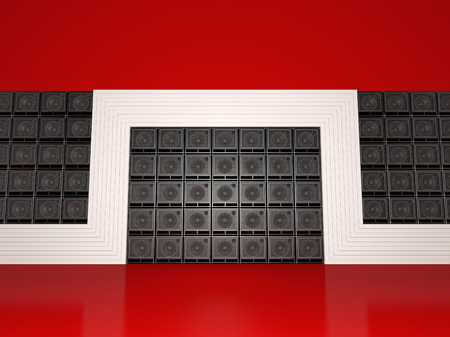 Abstract wall of guitar amps