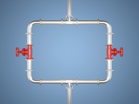 Rectangle made with pipes on blue Background