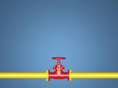 Gele en rode pijp op een blauwe achtergrond