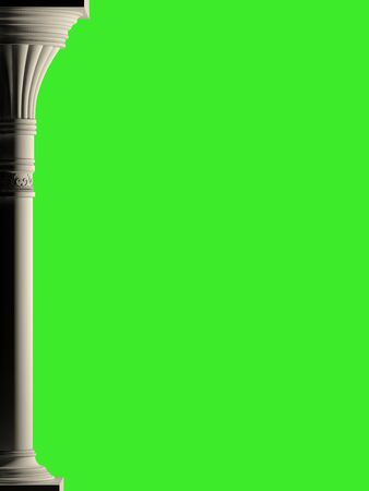 Background is antique column, isolation on the green. High-resolution