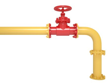 Rohrleitungsventil isoliert auf Weiß Standard-Bild