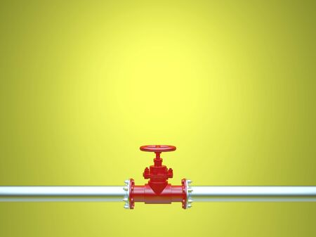Industrial Pipe Valve on yellow background