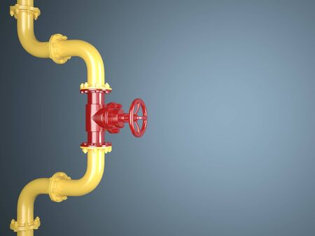 Yellow and red pipe on a blue background