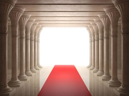 Old columns is ancient style with red carpet
