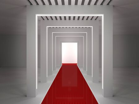 Empty room with a podium, and red carpet