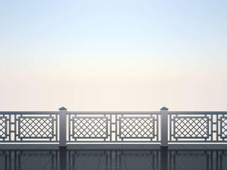 Chrome balustrade against the blue sky