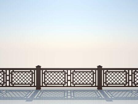 Balustrade against the blue sky