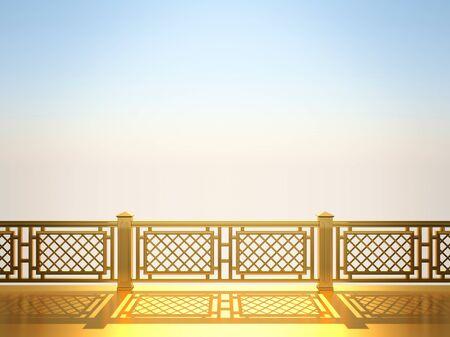 Golden balustrade against the blue sky