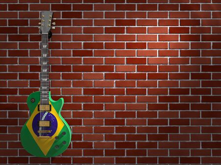 Brazilian flag electric guitar hanging on a brick wall