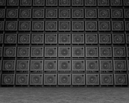 Große Wand aus Gitarrenverstärkern Standard-Bild