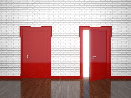 Open and closed the door on the brick wall background Stok Fotoğraf