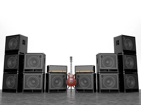 Drum set on a background of a wall of guitar amps