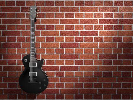 Guitar hanging on a brick wall Stockfoto