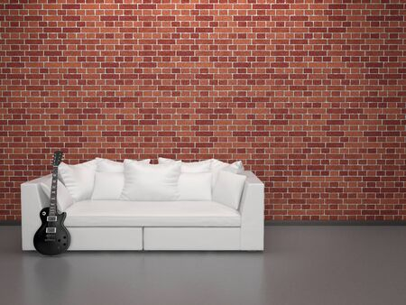 White leather sofa and black guitar against a brick wall
