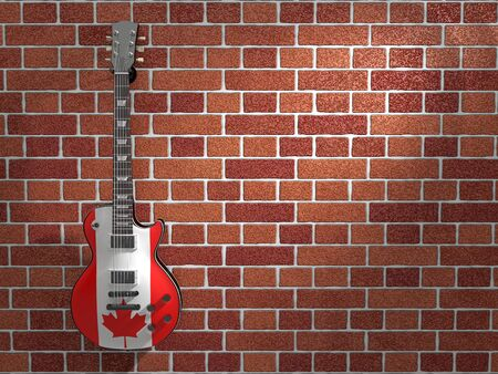 Canadian flag electric guitar hanging on a brick wall