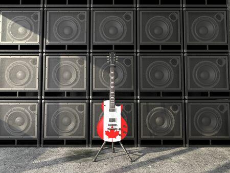 Canadian flag electric guitar Stok Fotoğraf