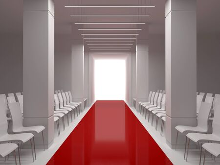 Hall with a podium, columns and red carpet Stockfoto